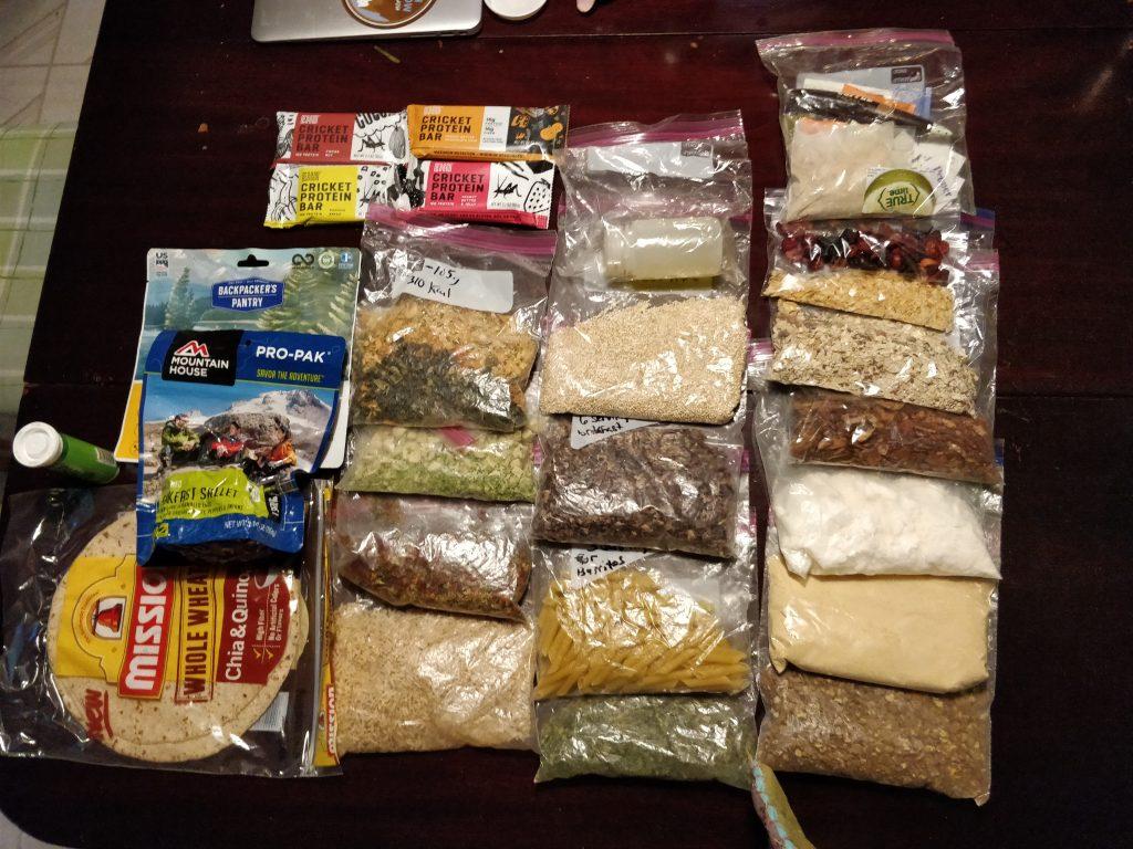 backpacking food prepared in plastic baggies